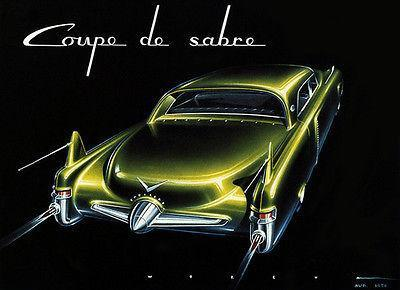 Primary image for 1950 Cadillac Coupe De Sabre Concept Car - Promotional Advertising Poster
