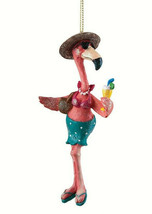"GALLERIE II 5.4"" HAND PAINTED POLYRESIN BEACH BABE FLAMINGO CHRISTMAS OR... - $15.88"