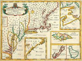 "1700s Map 16""x21"" Plantations of the English in America British Colonies Poster - $16.34"