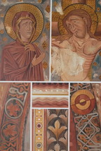 CHURCH PAINTINGS 13th C Le Puy Cathedral Crucifixion - 1888 COLOR Litho ... - $16.85