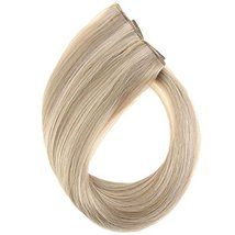 YoungSee 14inch Remy Human Hair Halo Extensions with Clips Dark Ash Brown with G image 2