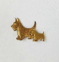 Vintage schnauzers Scottish terrier gold tone two dogs brooch pin mid ce... - $27.85