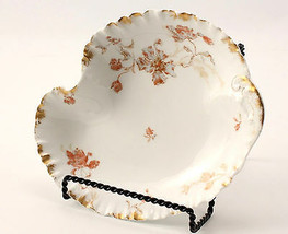 Haviland Fluted Bowl Limoges Pink Floral With Gold 10 by 8 Inches - $22.43