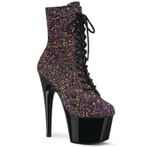 "PLEASER 7"" Heel Purple Glitter Black Platform Lace Up Black Women's Ankl... - $87.95"