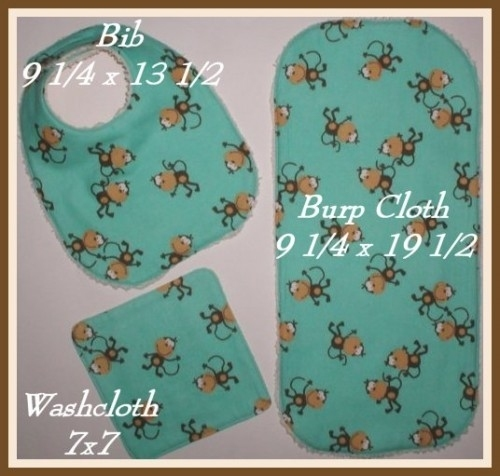 Primary image for Monkeys Baby Bib, Monkeys Burp Cloth, Baby Bib With Monkeys, Monkeys Washcloth
