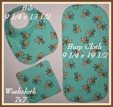 Monkeys Baby Bib, Monkeys Burp Cloth, Baby Bib With Monkeys, Monkeys Washcloth - $20.00