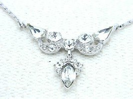 VTG BOGOFF Silver Tone Art Deco Style Clear Rhinestone Choker Necklace - $123.75