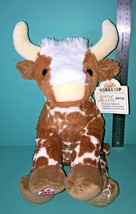 "Build A Bear Brown White Cow Bull Steer Horns 12"" Plush Way Of Lights 20... - $59.95"
