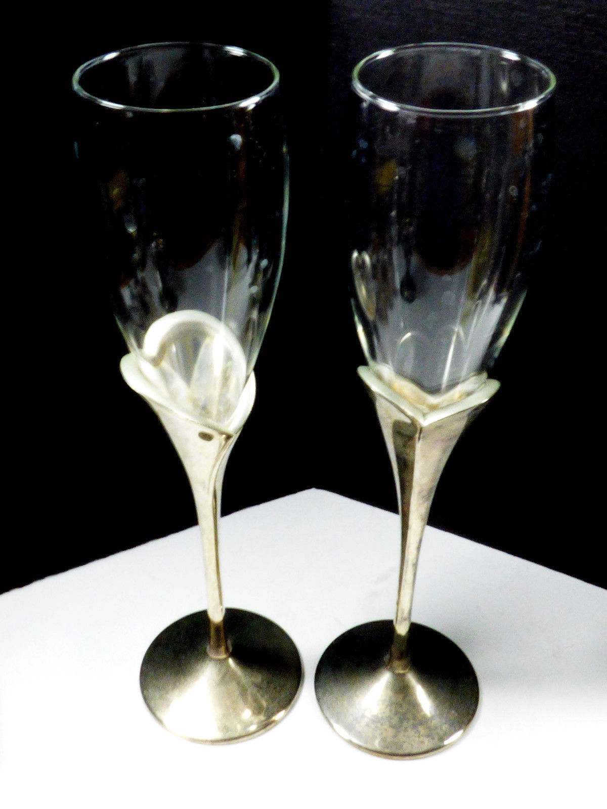 2 LENOX Crystal Champagne Flute Wedding Anniversary Silverplate Stems Heart image 3