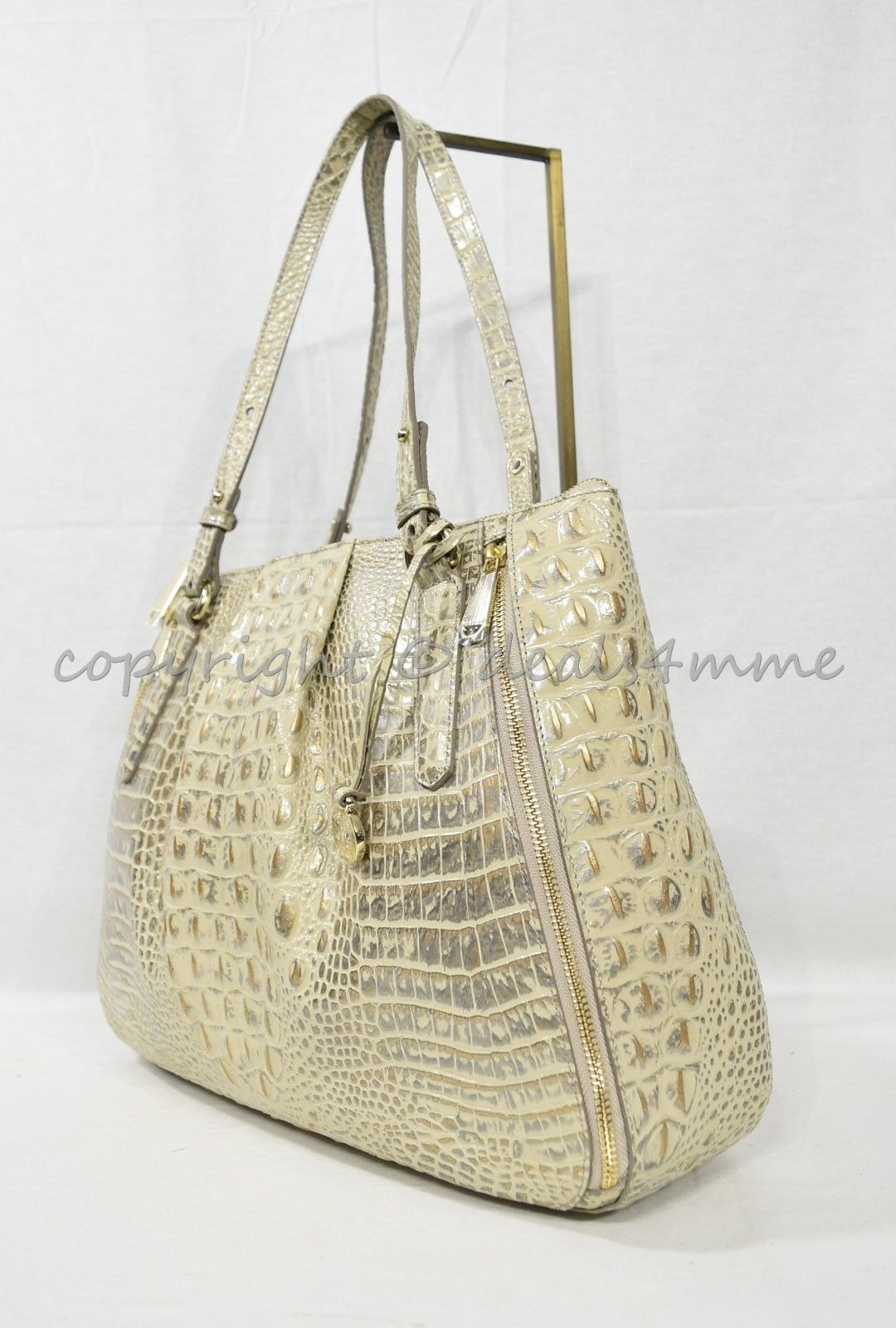 NWT Brahmin Adina Leather Tote/Shoulder Bag in Silver Birch Melbourne image 3