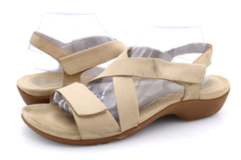 Abeo Womens 11N Beige Leather Norma Open Toe Strappy Wedge Sandals - $19.99