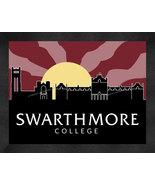 Swarthmore College 13 x 16 Uscape with Retro Skyline Framed Print  - $39.95