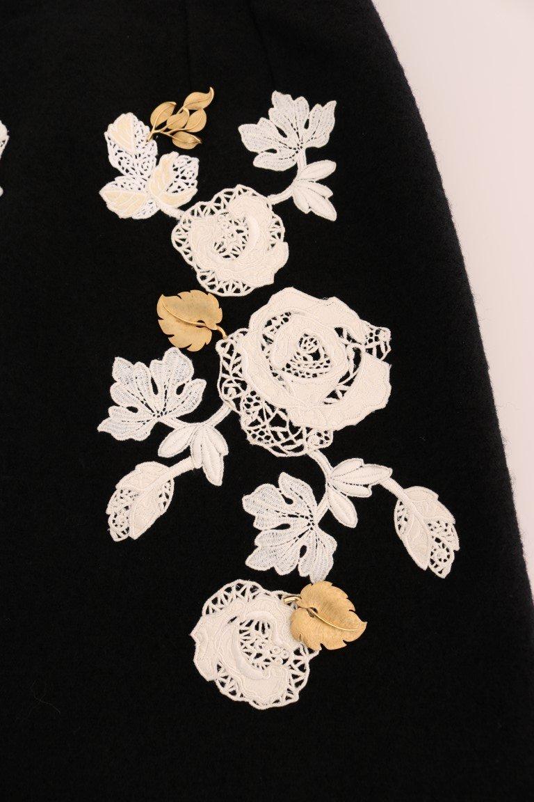 Dolce & Gabbana Black Floral Ricamo Skirt