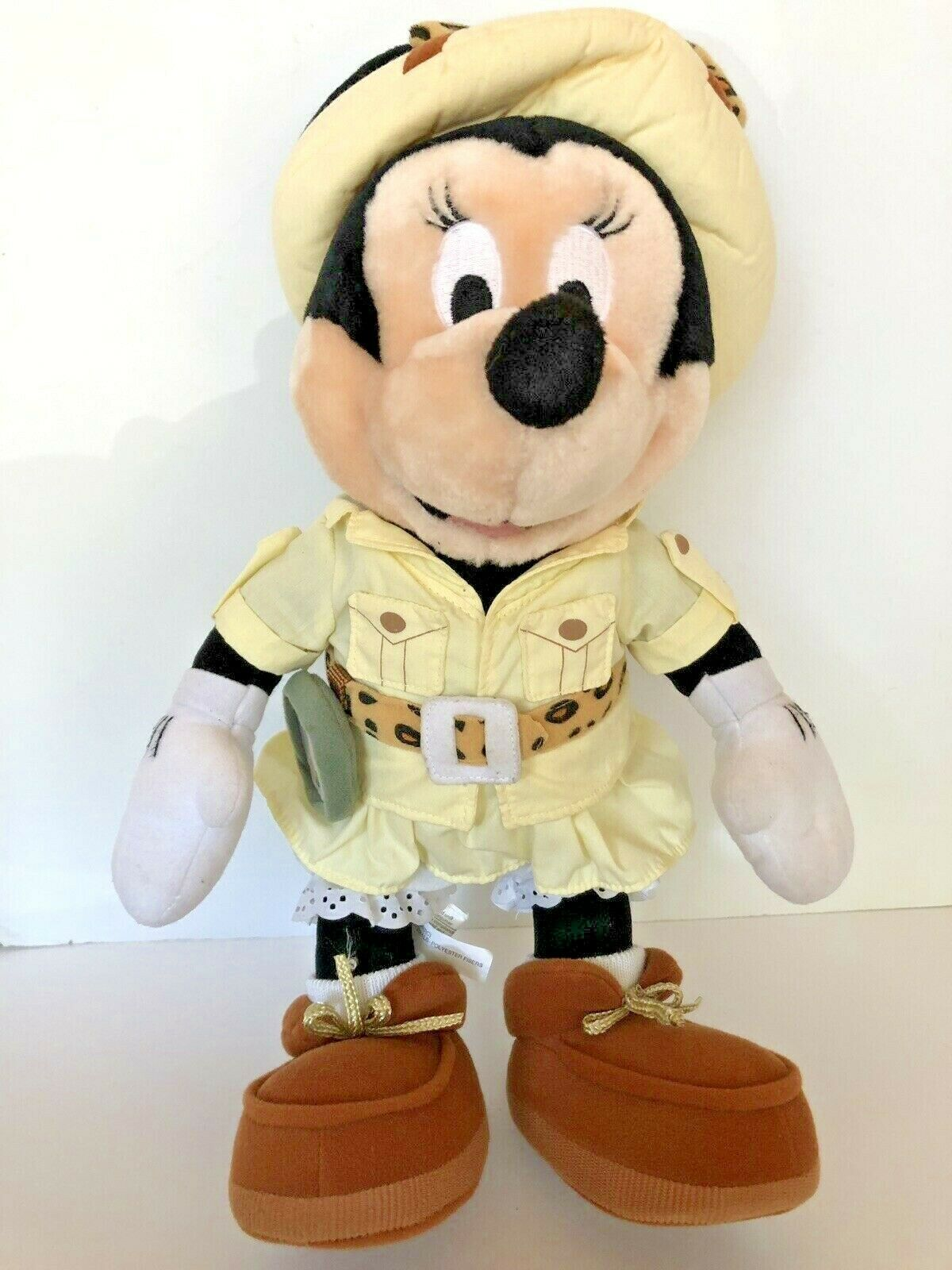 """Disney plush Safari Minnie Mouse stands about 14"""" tall with compass leopard bow"""