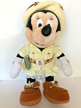 """Disney plush Safari Minnie Mouse stands about 14"""" tall with compass leopard bow  image 1"""