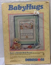 "VTG NIP Dimensions Baby Hugs Bear 'n Bunnies Birth Record 11""x14"" Cross ... - $29.44"
