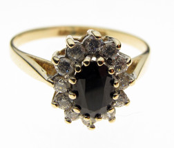 9 Carat Yellow Gold Ring, 6 x 4 mm Sapphire Cluster, Size M - $90.15