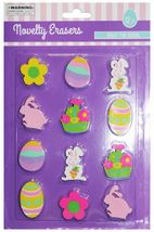 MOMENTUM* 12pc EASTER Bunnies+Chicks+Eggs+More NOVELTY ERASERS New! *YOU CHOOSE* image 3