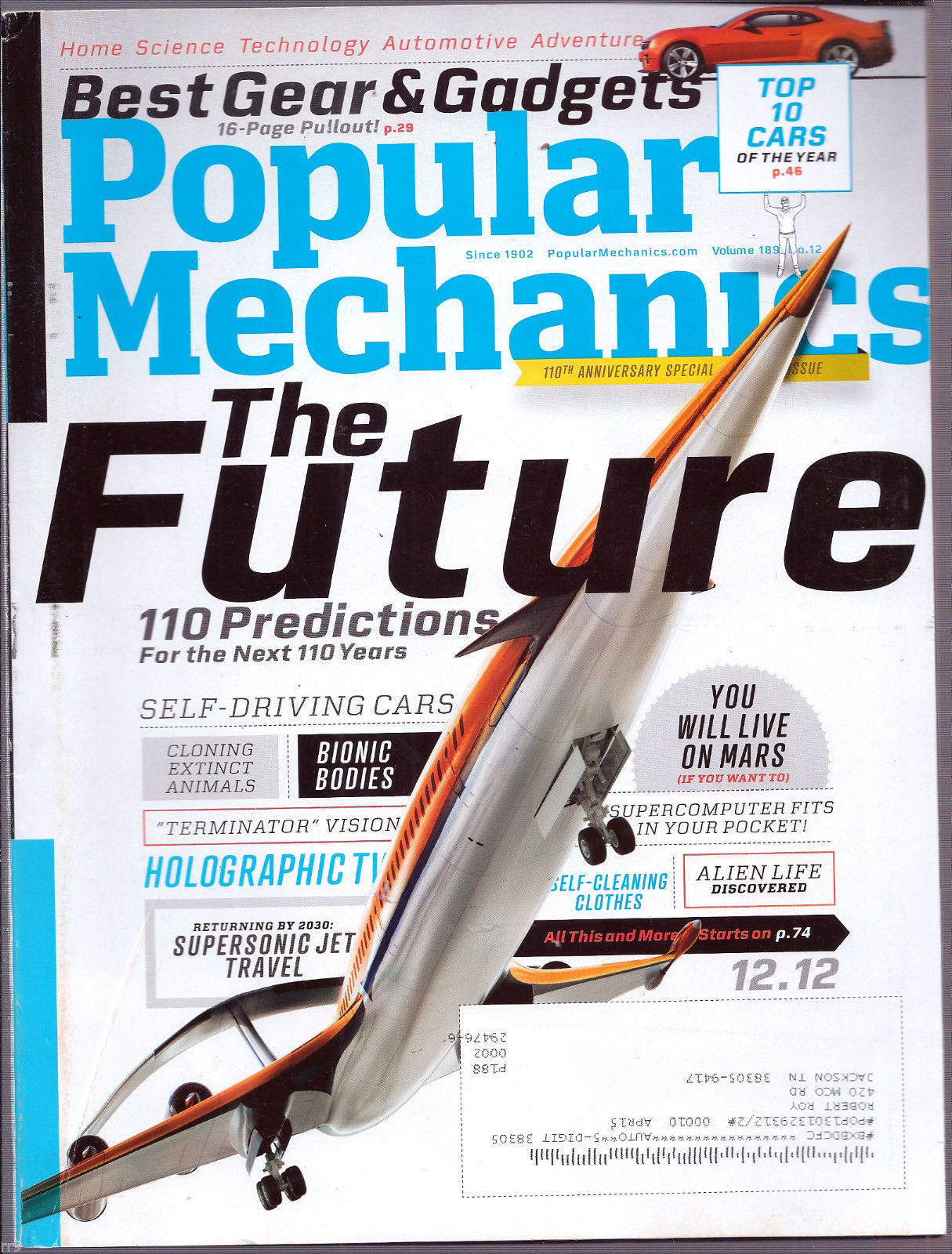 Primary image for Popular  Mechanics Magazine December 2012 Predictions for the Next 110 Years