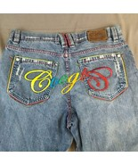 COOGI Embroidered Jeans Spell Out Factory Distressed 38X33 (Tag size 38x34) - $38.52
