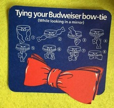 Shaped Beer Mat Coaster - Two Side - Budweiser Ice Cool Bow Tie (FF119) - $5.60
