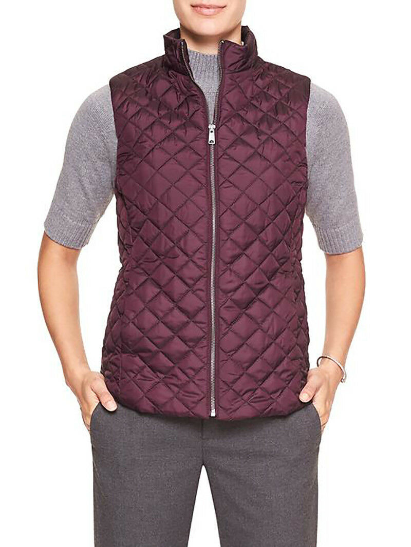7199-2 Banana Republic Womens Quilted Vest Elderberry Large $79.99