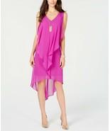 Thalia Sodi Women's High-Low Flutter Dress with Necklace Purple Size X-L... - $17.82