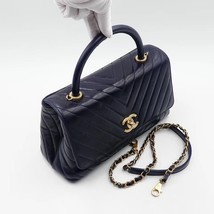 100% AUTH CHANEL CHEVRON QUILTED CALFSKIN ROYAL BLUE MEDIUM COCO HANDLE BAG GHW image 2