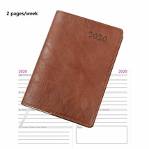 2020 Weekly Planner Soft Leather Cover Small A6 2 Pages per Week with Ca... - $18.99