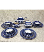 Vintage, Rare, Buffalo Pottery, 17-pc Blue Willow Tea - Dinner Set for 4 - $712.45