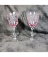 """Pair Fostoria NAVARRE Pink Etched Champagne/Sherbet Crystal 7 3/4"""" - $78.54"""