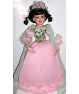 Victorian Style Porcelain Doll - AWESOME!  Pink pleated dress - brunette - $25.00