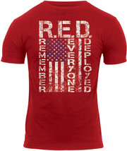 Red Athletic Muscle T-Shirt US Flag Remember Everyone Deployed R.E.D. Tee - $13.99+