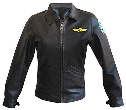 Womens Top Gun Kelly McGillis Charlotte Blackwood Black Biker Leather Jacket