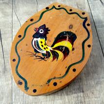 Vintage Woodpecker Wood Ware Hand Painted Rooster Hamburger Press  - $28.66