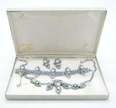 Jewels By Le Dor Blue AB Ice Rhinestone Faux Pearl 1950s Demi Parure Jew... - $296.99