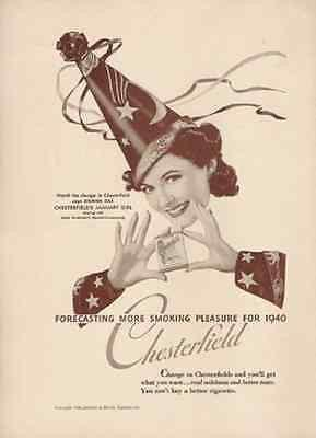 Wizard January Girl Hat Chesterfield Cigarettes 1940 AD image 1