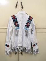 Men's New Native American Buckskin White Leather Beads Hippie Shirt & Pant WS72 image 6