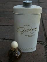 Vtg Avon Wishing Perfume Oil Glass Mini Bottle Talc Powder Metal Tin Set... - $26.99