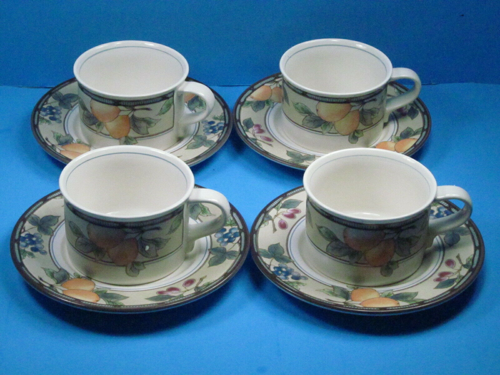 Primary image for 4 MIKASA Intaglio Garden Harvest Cups and Saucers Bundle of 4 Sets