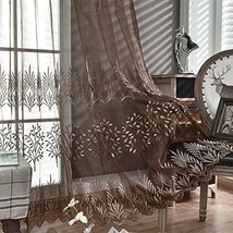 DONREN Luxury Brown Sheer Curtains for Living Room - Leaf Embroidery She... - $28.94
