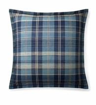 Ralph Lauren Home Artisan Loft Jasper EURO Pillow Sham Plaid Blue Cotton... - $48.46