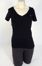 Women's Ralph Lauren Black V Neck Short Sleeve Stretch Tee T-Shirt Purpl... - $37.12