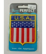 Sew perfect iron on USA flag badge patch sealed - $4.94