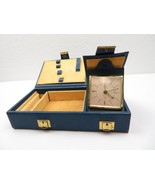 Mid Century blue leather travel clock case Modern Deco 50s by Peter Germany - $80.00