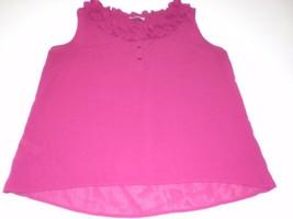 W14051 Womens ANN TAYLOR LOFT Magenta Pink Sleeveless BLOUSE Shirt LARGE - $28.96