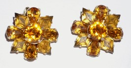 Signed Eisenberg Goldtone Amber Clear Rhinestone Clip Earrings   - $27.65