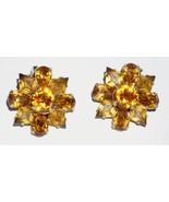 Signed Eisenberg Goldtone Amber Clear Rhinestone Clip Earrings   - $27.65
