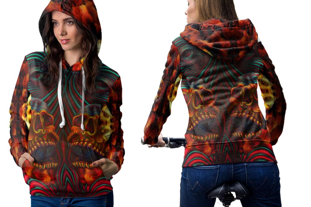 Dmt skull crystal hoodie zipper for women