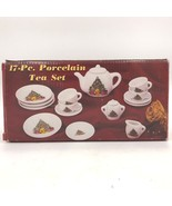 Porcelain Christmas Tree Bear Childs Tea Set 17 Pieces NIB New in Box QQ... - $12.95